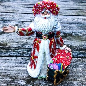 🆕List! Handpainted Santa with Poinsettias! VTG!